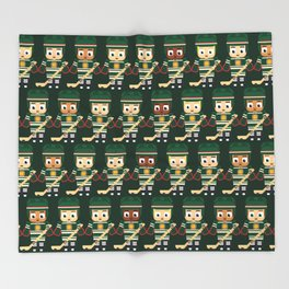Super cute sports stars - Ice Hockey Green Throw Blanket