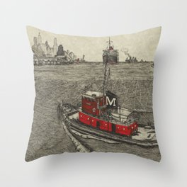 Morgan Tugboat, Hudson river, New York Throw Pillow
