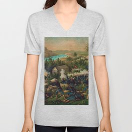 African American Buffalo Soldier 9th and 10th Cavalry at the battle of La Guarina Unisex V-Neck
