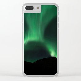 Green northern lights in the night sky Clear iPhone Case