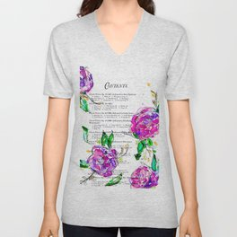 Book contents - Floral painting Unisex V-Neck