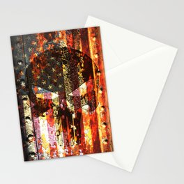 Punisher Themed Skull on Rusted American Flag Stationery Cards
