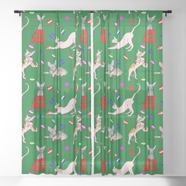 christmas sphynx (naked cat) ugly sweater Sheer Curtain
