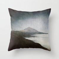 geology Throw Pillows featuring Mount Teide and dust by UtArt