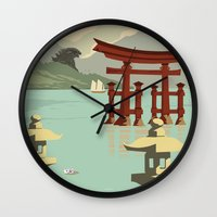 travel poster Wall Clocks featuring Kaiju Travel Poster by Duke Dastardly