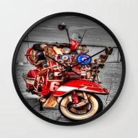 vespa Wall Clocks featuring Vespa by Doug McRae