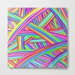 Abstract Neon Rainbow Metal Print