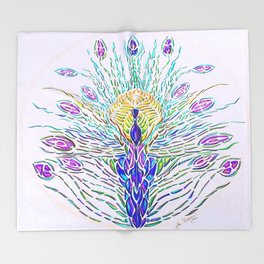 Peacock2 Throw Blanket