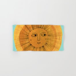 Sun Drawing - Gold and Blue Hand & Bath Towel