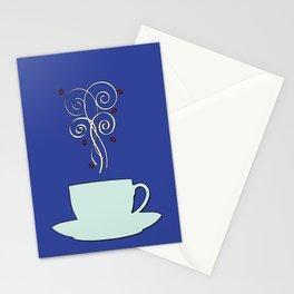 Aaah...coffee...  Retro / Vintage Coffee Print on Maui Sea Background Stationery Cards