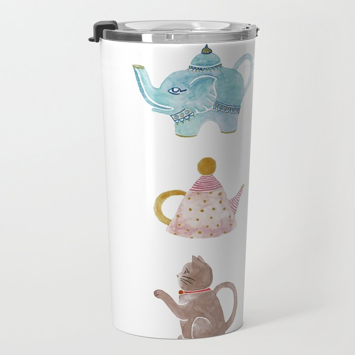 Waterclor Teapot Collection Travel Mug