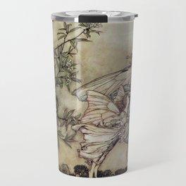 """""""Fairies Tiff with the Birds"""" by Arthur Rackham Travel Mug"""