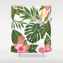 Jungle Floral Print Shower Curtain