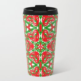 Red, Green and White Kaleidoscope 3375 Travel Mug