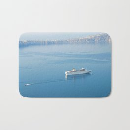 Cruise liner at the sea near Santorini island, Greece Bath Mat