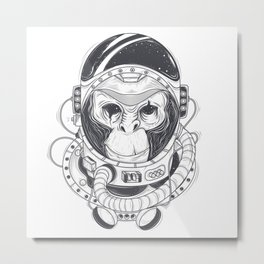 Vector hand drawn illustration of a monkey astronaut, chimpanzee in a space suit Metal Print