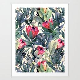 Painted Protea Pattern Art Print