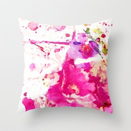 flower and splash in pink Throw Pillow