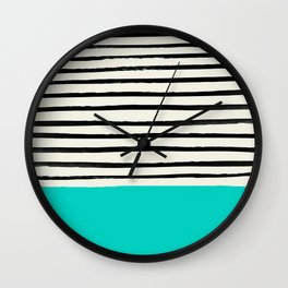Aqua & Stripes Wall Clock