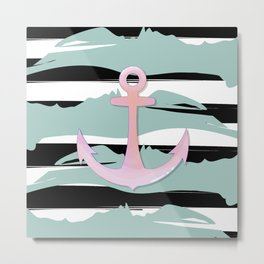 Striped anchor Metal Print