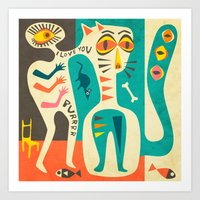 jazzberry Art Prints featuring A Man who Loves his Cat by Jazzberry Blue
