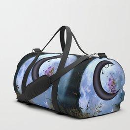 Beautiful fairy sitting on the moon Duffle Bag