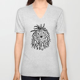 Puli (Black and White) Unisex V-Neck