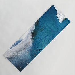 In the Surf: a vibrant minimal abstract painting in blues and gold Yoga Mat