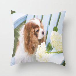 Cavalier King Charles With Hydrangeas Throw Pillow