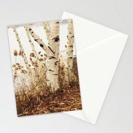 Autumn Birches by the Lake Stationery Cards