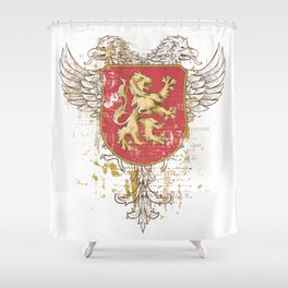 Coat of Arms Shield - Griffin Seal - Crown Lion and the Mark Shower Curtain