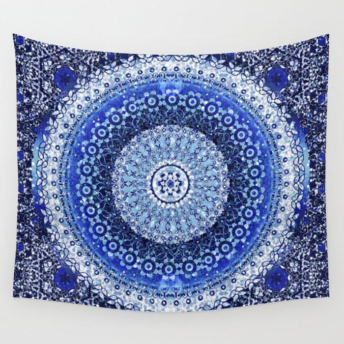 Cobalt Tapestry Mandala Wall Tapestry
