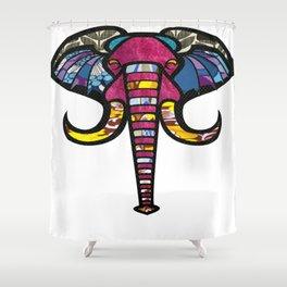 Purple Floral Elephant Shower Curtain