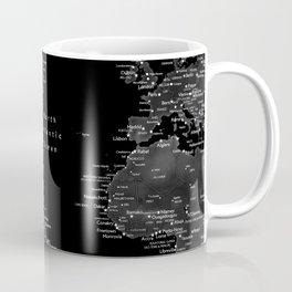 Black and grey world map with cities Coffee Mug