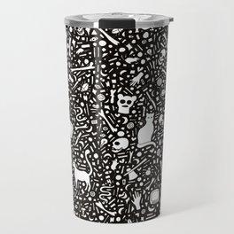 Black Ink Drawing with Cats, Bones, Skulls, Knives and Hearts. Travel Mug