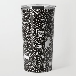 Black Ink Drawing with Cats, Bones, Skulls, Knives and Hearts. Travel Mug