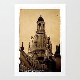 Blick auf die Frauenkirche in Dresden Art Print