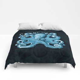Octopus1 (Blue, Square) Comforters