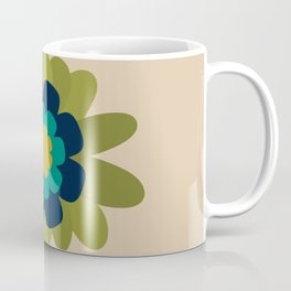 Morelia Flower Single - Retro Floral in Navy, Teal, Mustard, and Olive on Mid Mod Beige Coffee Mug