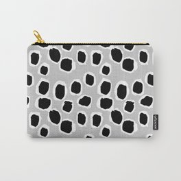 Tess - black and white grey minimal modern abstract dots painting brushstrokes free spirit ink  Carry-All Pouch