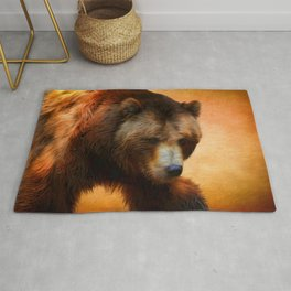Grizzly Bear Painted Rug