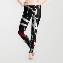 Black Red and White Bold Circle Design Abstract Leggings