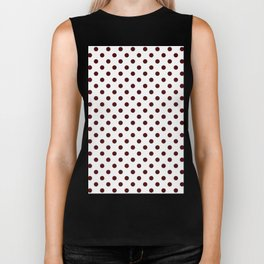 Small Polka Dots - Bulgarian Rose Red on White Biker Tank