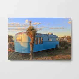 Old Blue Cactus Trailer Metal Print
