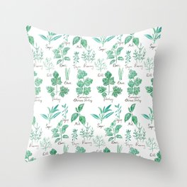 green herbs family watercolor Throw Pillow