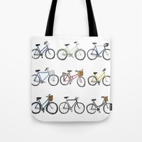 bicycles Tote Bags featuring Bicycles by Bianca_CS