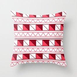 Red Pink Geometric Pattern Throw Pillow