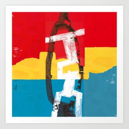 Red, yellow and blue abstract painting Art Print