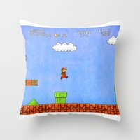 mario Throw Pillows featuring Mario by let's build a boat