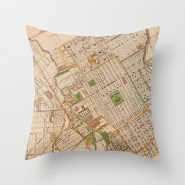 Vintage Map of San Jose California (1886) Throw Pillow